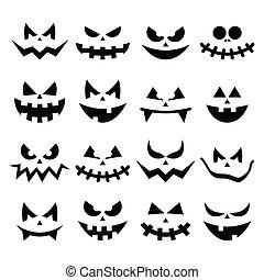 assustador, abóbora, caras, dia das bruxas, ícones