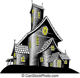assustador, assombrado, ilustração, casa