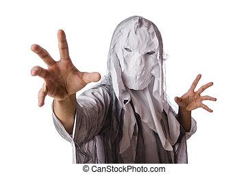 assustador, branca, conceito, dia das bruxas, monstro