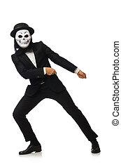 assustador, branca, máscara, isolado, homem