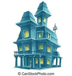 assustador, casa, dia das bruxas, assombrado, fundo, branca...