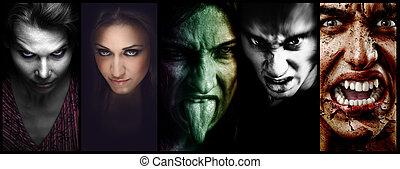 assustador, colagem, homens, dia das bruxas, Mal,  –, caras, mulheres