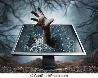 assustador, computador, varas, mão