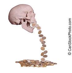 assustador, cranio, moedas, europeu, gotas, saída