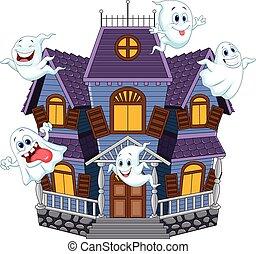 assustador, dia das bruxas, caricatura, casa
