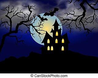 assustador, dia das bruxas, casa