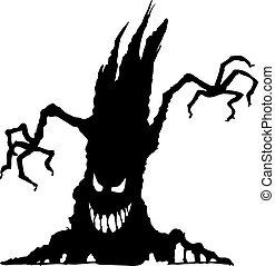 assustador, dia das bruxas, silueta, árvore