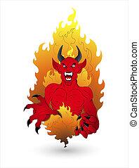 assustador, dia das bruxas, vetorial, diabo