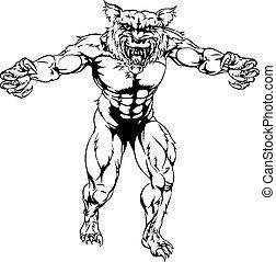 assustador, esportes, lobo, lobisomem, mascote