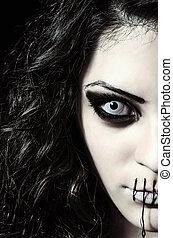 assustador, feche, cosido, estranho, closeup, retrato, boca,...