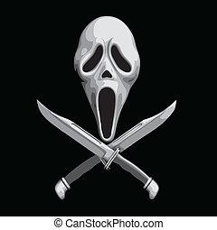 assustador, grito, faca