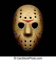 assustador, hóquei, máscara