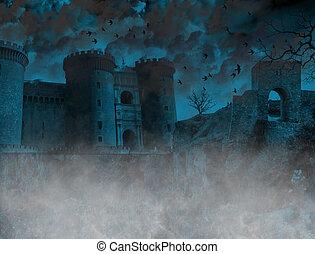 assustador, lugar, nebuloso