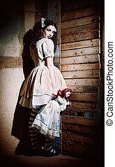 assustador, mão boneca, retrato, estranho, menina