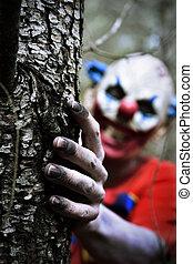 assustador, madeiras, mal, palhaço