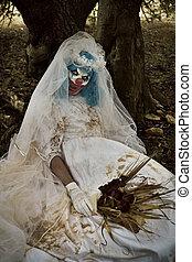 assustador, noiva, vestido, mal, palhaço