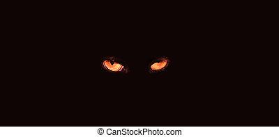 assustador, olhos
