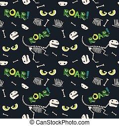 assustador, olhos, fóssil, padrão, seamless, ilustração, escuro, dinossauro, vetorial, fundo, ossos