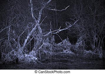 assustador, paisagem, com, árvore morta