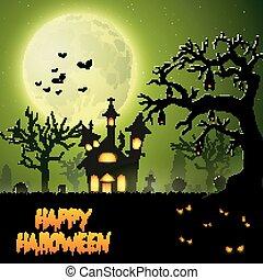assustador, penduradas, árvore, morcegos, igreja
