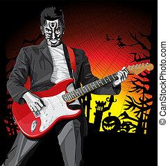 assustador, punk, dia das bruxas, guitarra, vetorial, homem