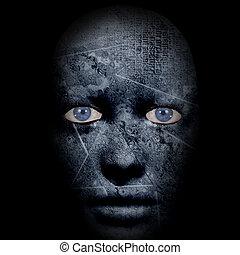 assustador, rosto humano