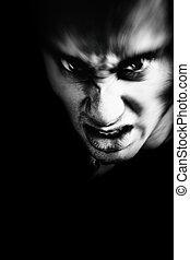 assustador, rosto, Mal, homem