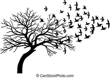 assustador, silueta, voando, árvore, nu, pretas, rebanho, pássaros
