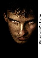 assustador, sombra, rosto