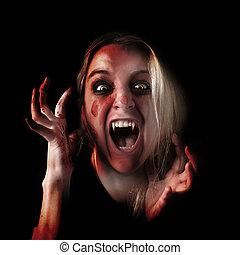 assustador, vampiro, dia das bruxas, menina, ligado, pretas