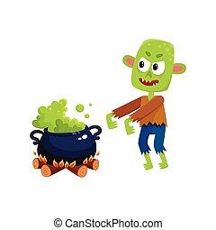 assustador, verde, zombie, monstro, e, dia das bruxas, caldron, com, ferver, poção