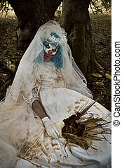 assustador, vestido, mal, palhaço, noiva