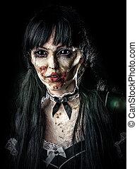assustador, zombie, mulher, com, olhos pretos