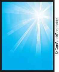 assymetric, bleu éclatement, lumière, vertical