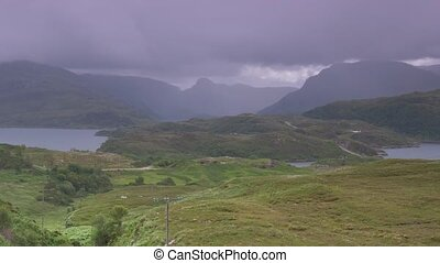 assynt, standpunkt, an, loch, a, chaim, bhain, scotland-,...