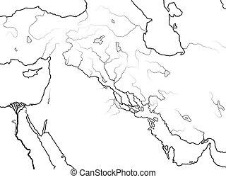 assyria, 地図, mesopotamia:, tigris, &, akkad, euphrates., ...