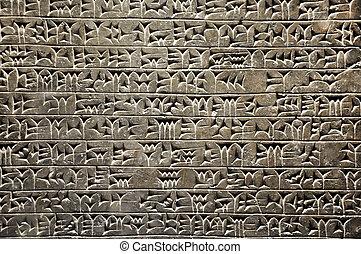 assyrian, écriture antique, sumerian, cunéiforme, civilisation, ou