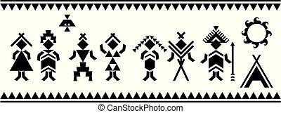 assyrian, égyptien, symbole., grec, vecteur, key., motives, ...