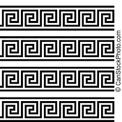assyrian, illustration., egipcjanin, grek, wektor, key., ...