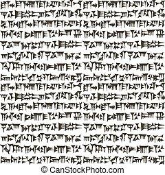 assyrian, wigvormig, sumerian, inscripton, oud, achtergrond,...