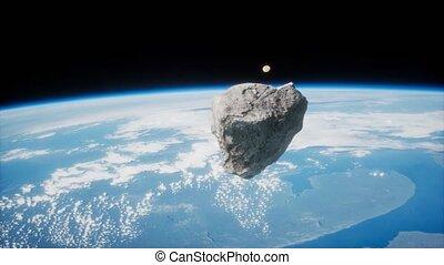 astéroïde, la terre, planète, approchant, dangereux