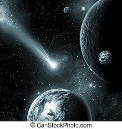 astéroïde, voler, la terre, espace