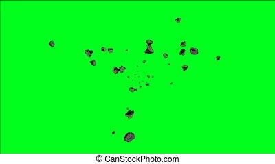 astéroïdes, écran, voler, vert