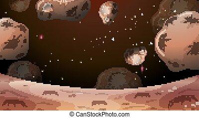 astéroïdes, scène, lune