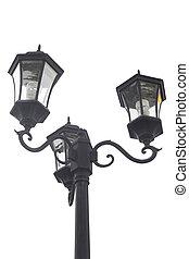 asta ligera, aislado, lámpara, calle, poste, blanco, camino