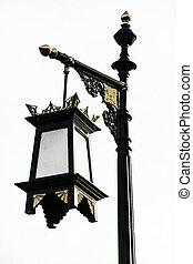 asta ligera, aislado, lámpara, calle, poste, camino