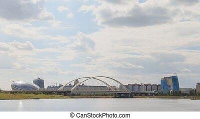Astana Bridge, Kazakhstan. Day time lapse.