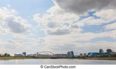 Astana Bridge, Kazakhstan. Day time lapse.. UltraHD (4K)