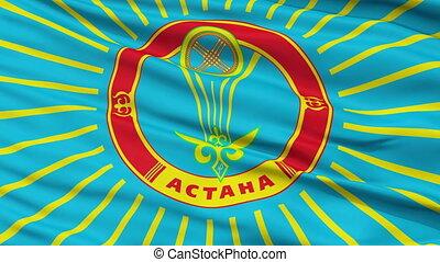 Astana City Close Up Waving Flag