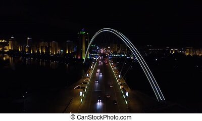 Astana, Kazakhstan. Aerial view of the bridge and the river Ishim